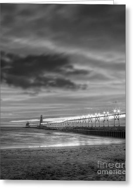 Pier Prints Greeting Cards - Grand Haven Pier in Black and White Greeting Card by Twenty Two North Photography
