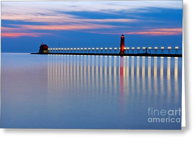 Twinkle Greeting Cards - Grand Haven Pier Lights at Night Greeting Card by Craig Sterken