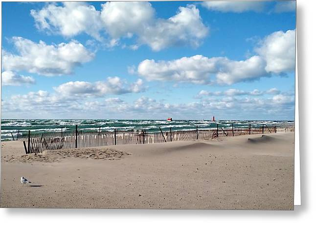 Grand Haven State Park Greeting Card by Michelle Calkins