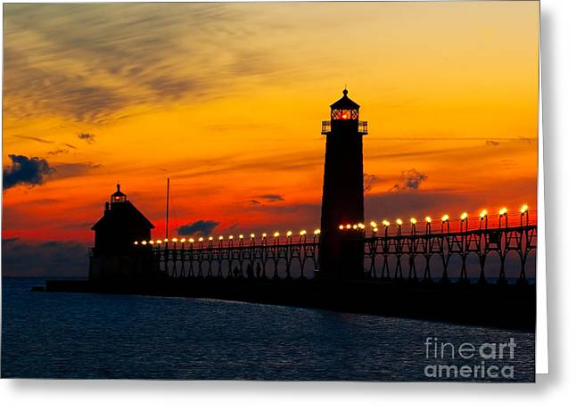 Historic Architecture Greeting Cards - Grand Haven Sunset Greeting Card by Nick Zelinsky