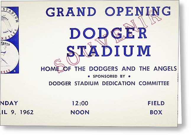 Baseball Stadiums Digital Greeting Cards - Grand Opening Dodger Stadium Ticket Stub 1962 Greeting Card by Digital Reproductions