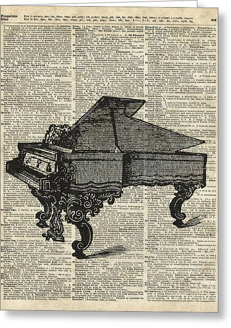 Digital Media Drawings Greeting Cards - Grand Piano Greeting Card by Jacob Kuch