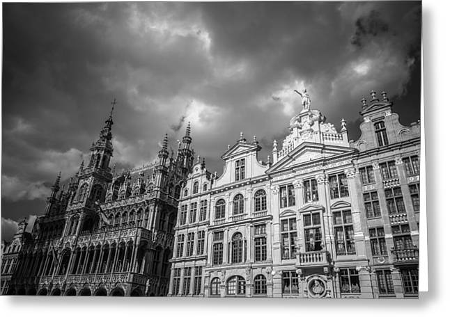 Guild Greeting Cards - Grand Place Mono 1 Greeting Card by Chris Fletcher