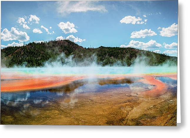 Grand Prismatic Spring Pano Greeting Card by Jeremy Clinard