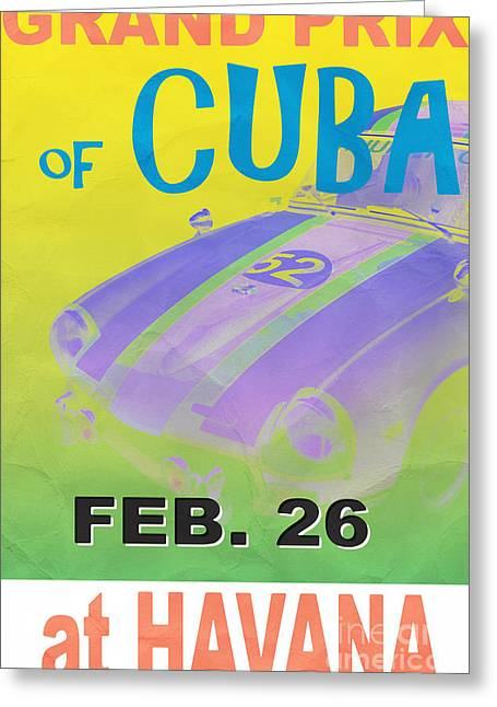 Havana Greeting Cards - Grand Prix of Cuba Rally Poster Greeting Card by Edward Fielding