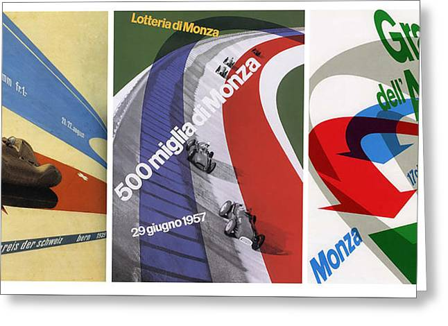 Stirling Moss Greeting Cards - Grand Prix Trio - Le Mans - Monza Greeting Card by Nomad Art And  Design