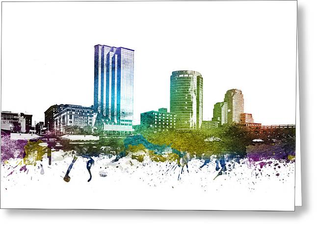 Rainbows Drawings Greeting Cards - Grand Rapids cityscape 01 Greeting Card by Aged Pixel