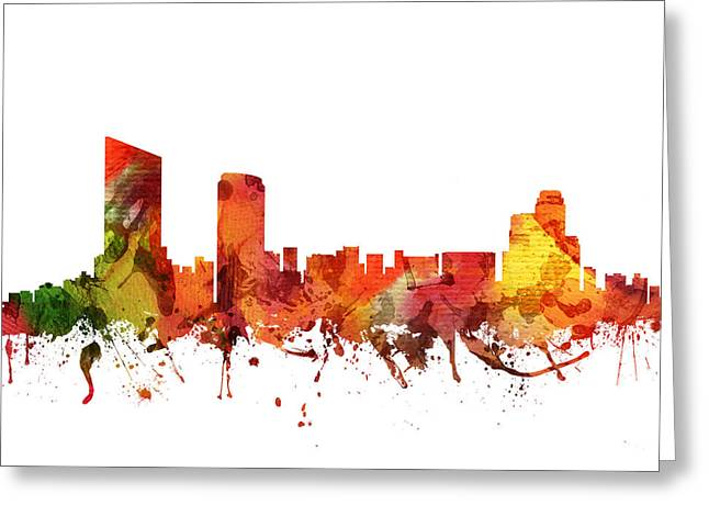 Michigan Drawings Greeting Cards - Grand Rapids Cityscape 04 Greeting Card by Aged Pixel
