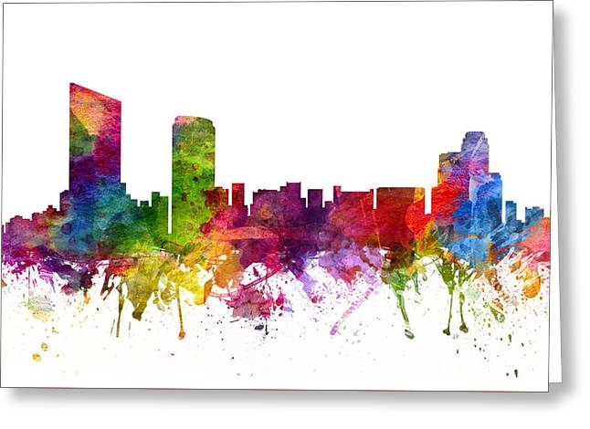 Michigan Drawings Greeting Cards - Grand Rapids Cityscape 06 Greeting Card by Aged Pixel