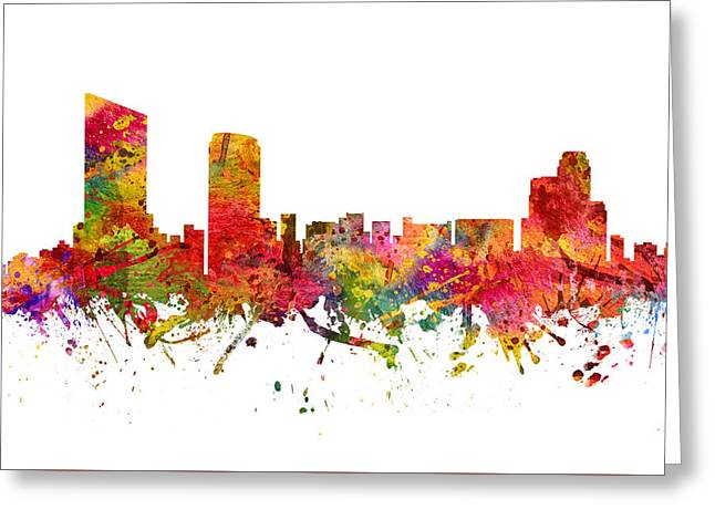 Michigan Drawings Greeting Cards - Grand Rapids Cityscape 08 Greeting Card by Aged Pixel