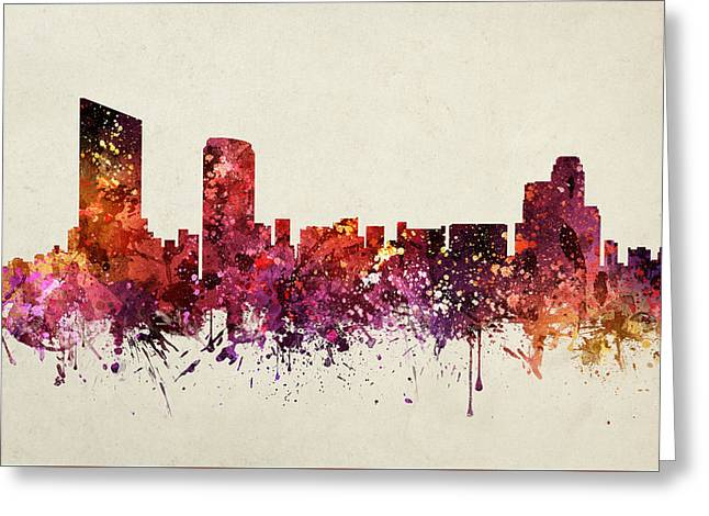 Michigan Drawings Greeting Cards - Grand Rapids Cityscape 09 Greeting Card by Aged Pixel