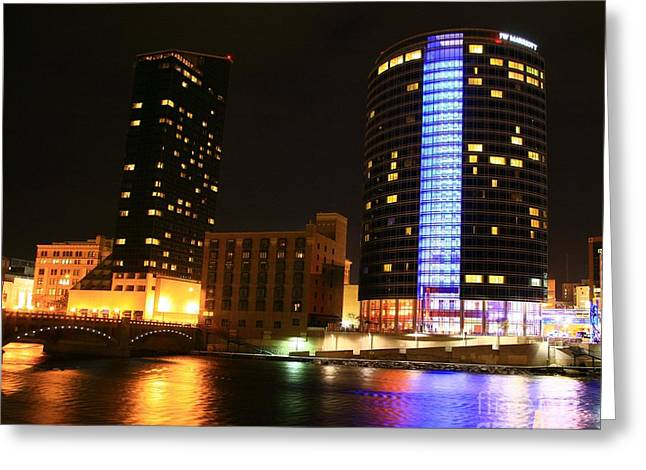 Rapids Pastels Greeting Cards - Grand Rapids MI under the lights-4 Greeting Card by Robert Pearson