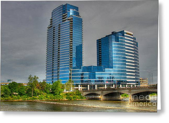 Grand River Greeting Cards - Grand Rapids Mich west bank-2 Greeting Card by Robert Pearson