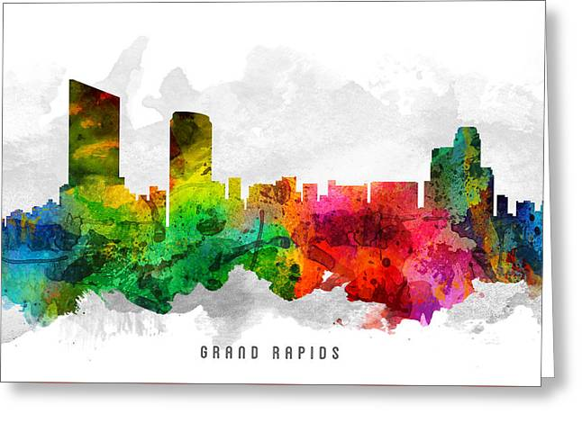 Grand Rapids Michigan Cityscape 12 Greeting Card by Aged Pixel