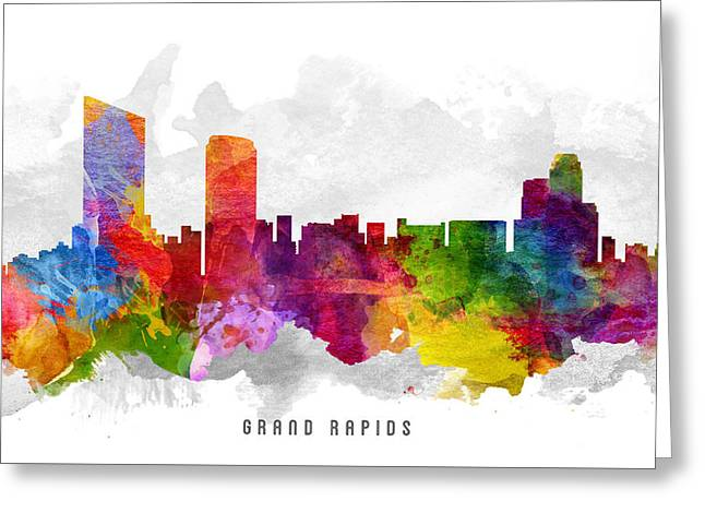 Grand Rapids Michigan Cityscape 13 Greeting Card by Aged Pixel