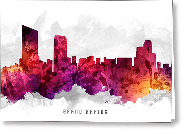 Grand Rapids Michigan Cityscape 14 Greeting Card by Aged Pixel