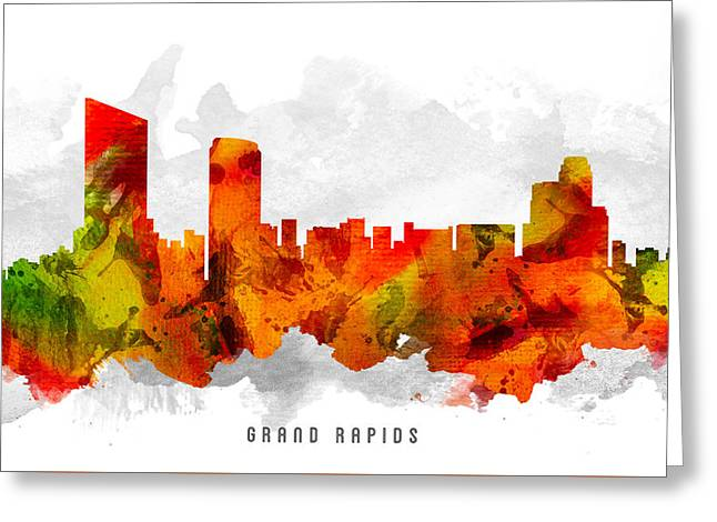 Grand Rapids Michigan Cityscape 15 Greeting Card by Aged Pixel