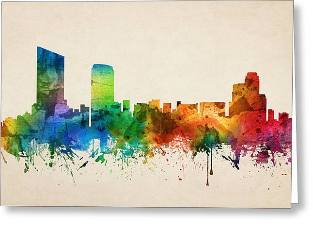 Grand Rapids Michigan Skyline 05 Greeting Card by Aged Pixel