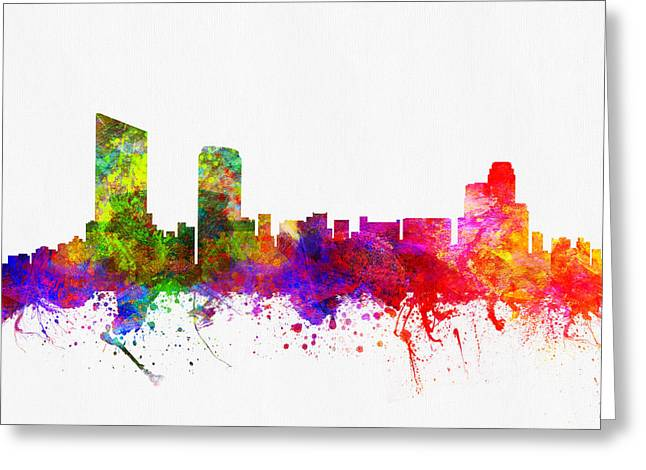 Grand Rapids Michigan Skyline Greeting Card by Aged Pixel