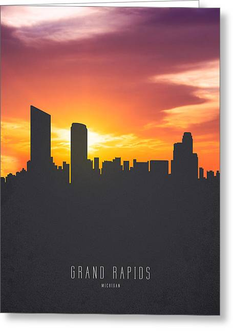 Grand Rapids Michigan Sunset Skyline 01 Greeting Card by Aged Pixel