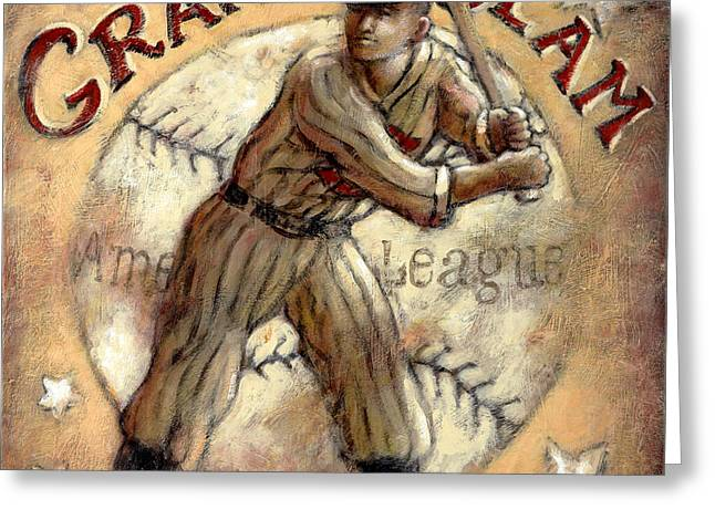 Baseball Uniform Greeting Cards - Grand Slam Greeting Card by Janet  Kruskamp