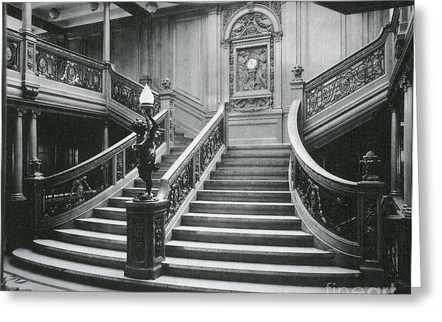 Historic Ship Greeting Cards - Grand Staircase Of The Titanic Greeting Card by Photo Researchers