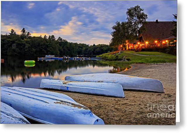 Canoe Greeting Cards - Grand Tappattoo Evening Greeting Card by Charline Xia