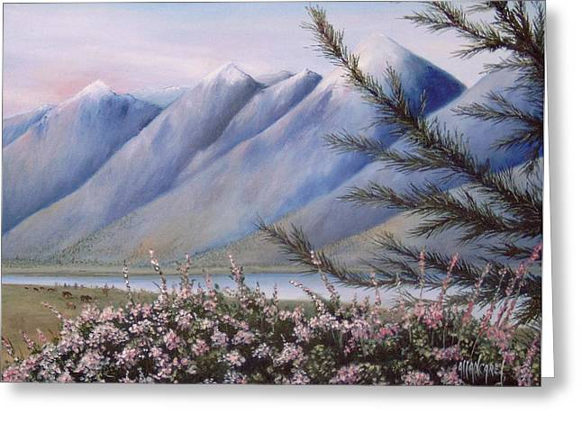 Park Scene Paintings Greeting Cards - Grand Teton Mountains Greeting Card by Allan Carey