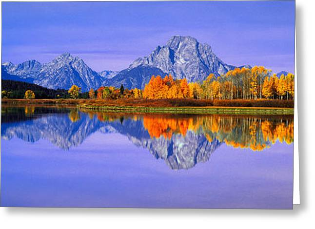 Grand Tetons And Reflection In Grand Greeting Card by Panoramic Images