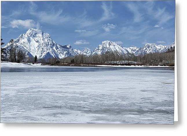 Snow Capped Greeting Cards - Grand Tetons and Snake River from Oxbow Bend 16-9 Greeting Card by Belinda Greb