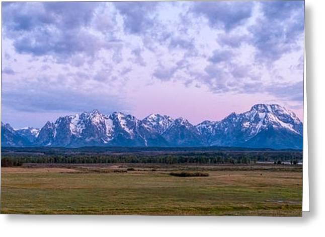 Grand Tetons Before Sunrise Panorama - Grand Teton National Park Wyoming Greeting Card by Brian Harig