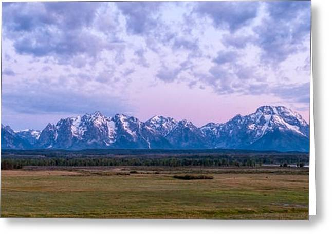 Scenic Greeting Cards - Grand Tetons Before Sunrise Panorama - Grand Teton National Park Wyoming Greeting Card by Brian Harig