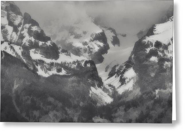 Grand Tetons Black And White Oil Greeting Card by Dan Sproul