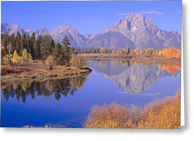 Grand Tetons Reflected In Oxbow Bend Greeting Card by Panoramic Images