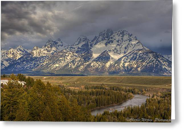 Grand Tetons Snake River Greeting Card by Charles Warren