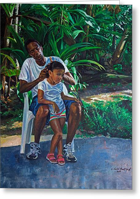 Grandfather And Child Greeting Card by Colin Bootman