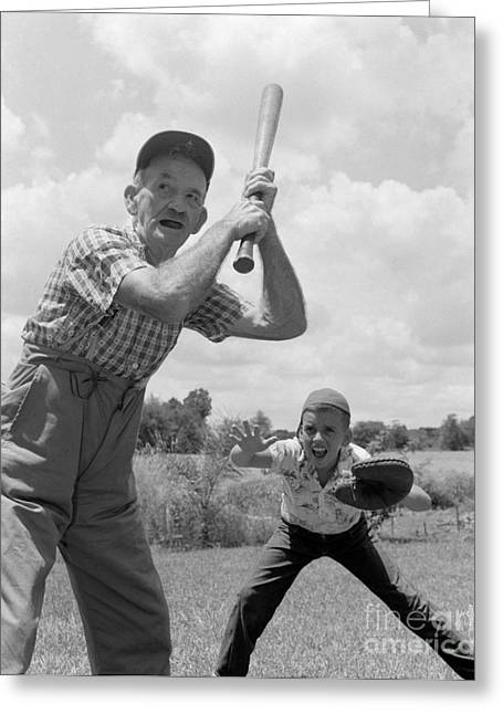 Softball Mitt Greeting Cards - Grandfather At Bat With Boy As Catcher Greeting Card by Debrocke/ClassicStock