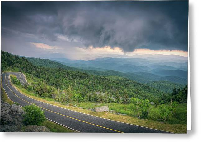 Blue Ridge Pyrography Greeting Cards - Grandfather Mountain Storm Greeting Card by Ray Devlin