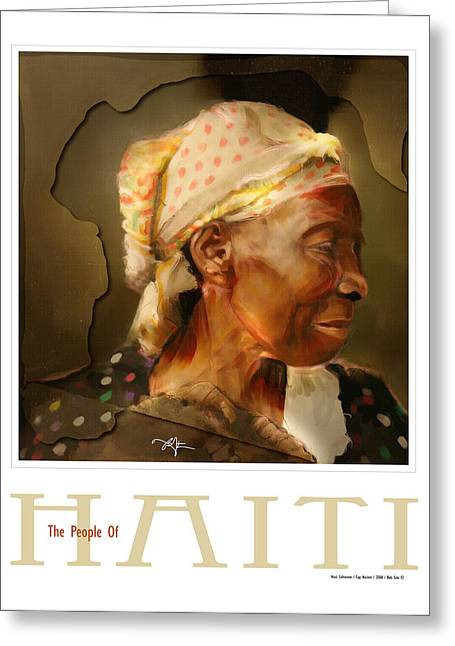 African-american Digital Greeting Cards - grandma - the people of Haiti series poster Greeting Card by Bob Salo