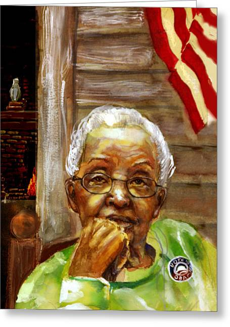 African-american Paintings Greeting Cards - Grandma for Obama Greeting Card by Gary Williams