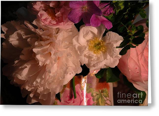 Pitcher Of Roses Greeting Cards - Grandmas Bloomers Greeting Card by Donna Stewart
