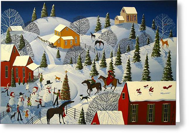 Christmas Art Greeting Cards - Grandmas Gift Greeting Card by Debbie Criswell