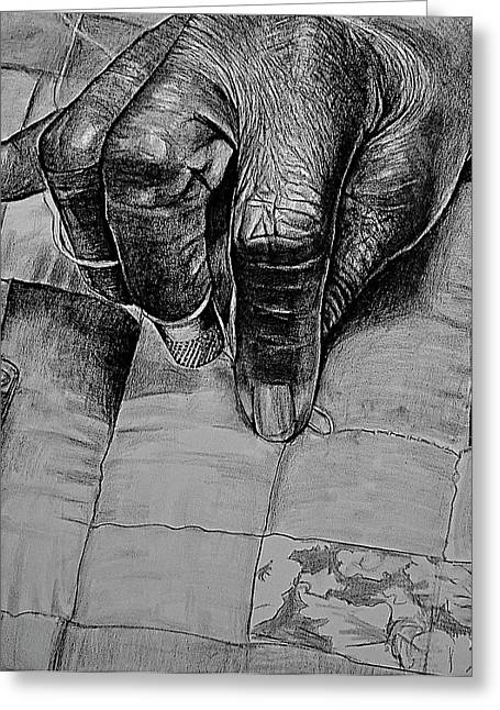 African American Art Drawings Greeting Cards - Grandmas Hands Greeting Card by Curtis James