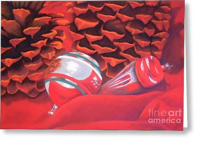 Pine Cones Pastels Greeting Cards - Grandmas Ornaments Greeting Card by Deborah Turner