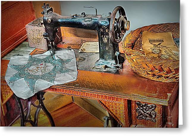 Grandma's Sewing Machine Greeting Card by Michael Ciskowski