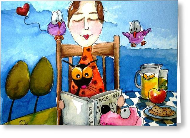 Grandma's Story Time Greeting Card by Lucia Stewart