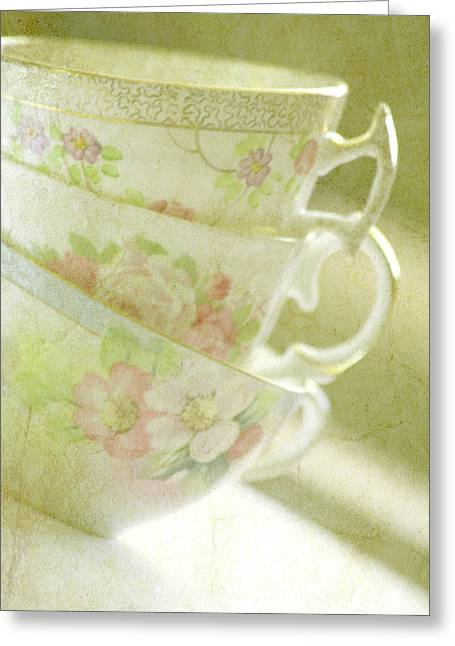 Soft Light Mixed Media Greeting Cards - Grandmas Teacups Greeting Card by Bonnie Bruno