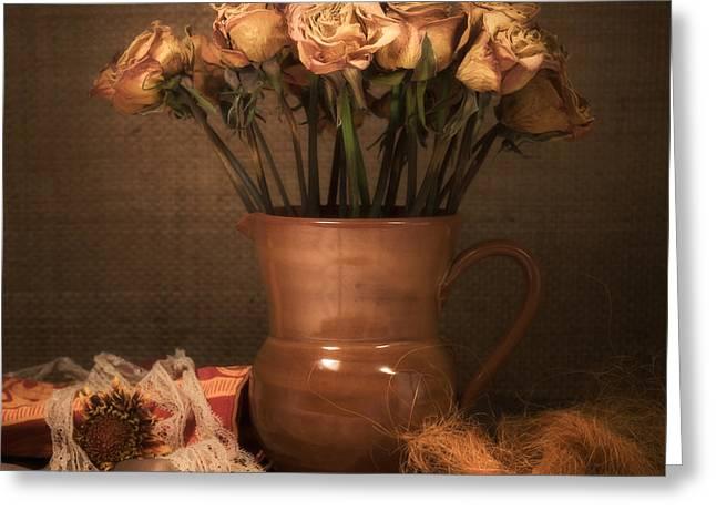 Cloth Greeting Cards - Grandmas Roses Greeting Card by Wim Lanclus