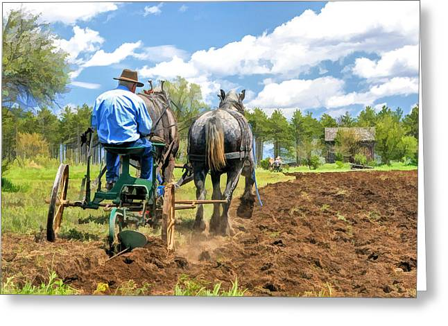 Bygone Greeting Cards - Grandpa at the Plow at Old World Wisconsin Greeting Card by Christopher Arndt