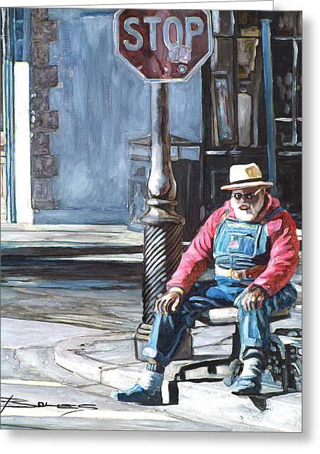 Grandpa Elliot On The Corner Of Royal Greeting Card by John Boles